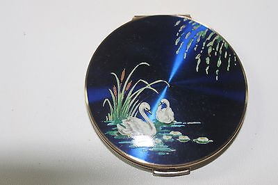 Vintage Stratton Powder Compact - Colbalt  Blue Enamelled Swans In Water