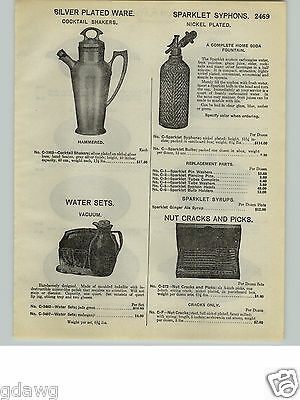 1932 PAPER AD Silver Cocktail Shaker Sparklet Syphon Syphons Nickel Plated