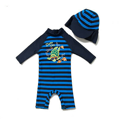 Baby Boys Toddler UV UPF 50+ Sun Protective One Piece 3/4 Sleeve Zip Swim Suit