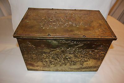 Antique Vintage English Brass Coal Box Hod Trunk Coach Figural Scenic Embossed
