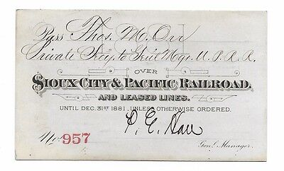 1881 Sioux City & Pacific Railroad Ann. Pass