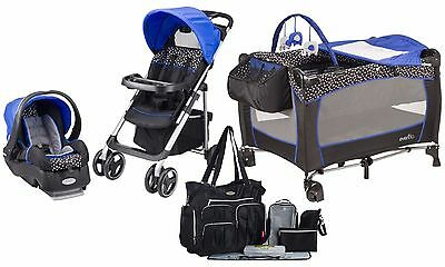 Evenflo Baby Stroller Travel System Car Seat Playard Crib Diaper Bag Combo Set