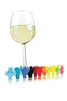 Silicone Party People Wine Glass & Drink Markers / Charms - Set of 12 - SS