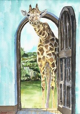 Giraffe funny cute watercolor Print of the Original Watercolor Painting for home
