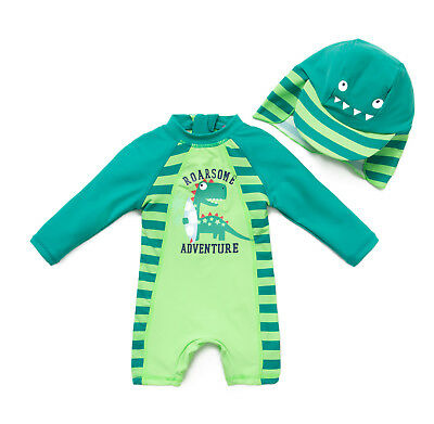 Baby Boy Toddler Swim L/S Zipper UPF 50+ Protection All-In-One UV Sun Suit