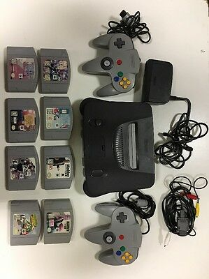 Nintendo 64 Launch Edition Smoke Grey Console W/ 8 Games, Carrying Case & 2 Cont