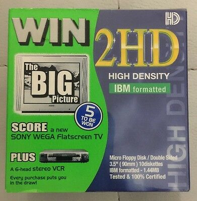 """SONY MFD-HD EF DOUBLE SIDED 3.5"""" 1.44MB IBM FORMATTED 10pk NEW AND SEALED"""
