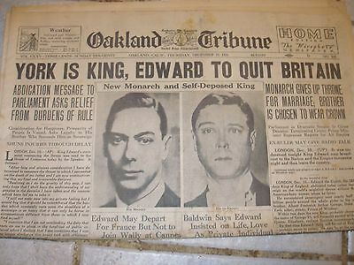 "December 1936 Oakland Tribune Front Page- ""York is King, Edward to Quit Britain"""
