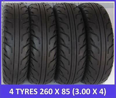 """4 Pack Special - 4 Mobility Scooter Tyres 260 x 85 (3.00 x 4"""") Black FREEPOST"""