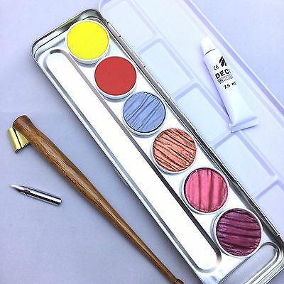 Finetec Pearl Gold Colours Calligraphy Germany Ink Metallic Copperplate Gouache