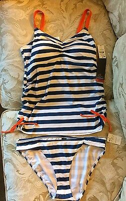 Oh Baby By Motherhood Two Piece Tankini Maternity Swimsuit Large L NWT Striped