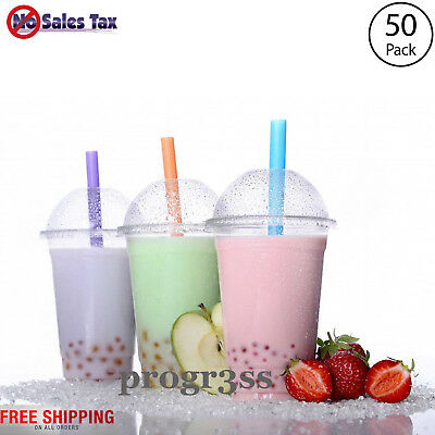 50 Sets 16 oz PET Plastic CLEAR Cups with Dome Lids Coffee Bubble Boba Tea NEW