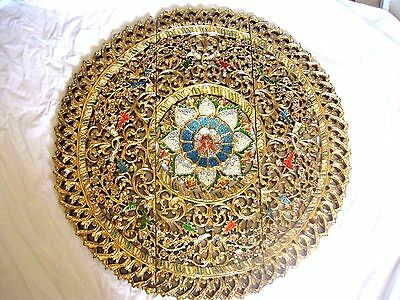 Chinese Hand Carved Wood Gold Gilt  Large Round Wall Panel