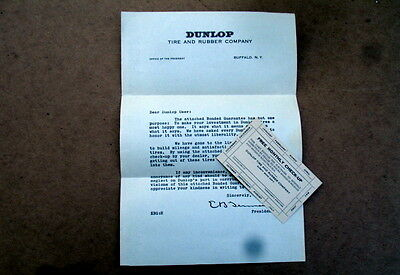 VINTAGE DUNLOP TIRE-RUBBER COMPANY LETTER+MONTLY INSPECTION CARD~CIRCA 1920s-30s
