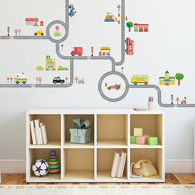 Decowall DW-1404S The Road and Cars Nursery Kids Wall Stickers For Boys(M)