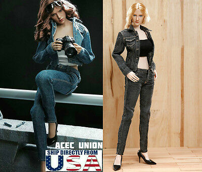 """1//6 Baseball Jacket Tank Top Jeans Set for 12/"""" PHICEN Hot Toys Figure ☆USA☆"""