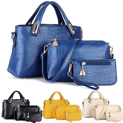 3PCS Women Leather Handbag Shoulder Bags Tote Purse Ladies Messenger Hobo Bag US