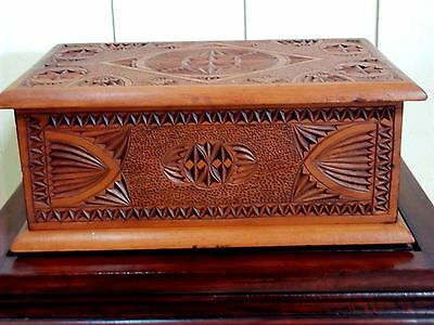 Antique Kauri Pine Chip Carved Box , circa early 1900's .