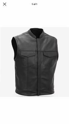 Men's Son Of Anarchy Real Leather Motorbike Waistcoat With Free Winter Gloves