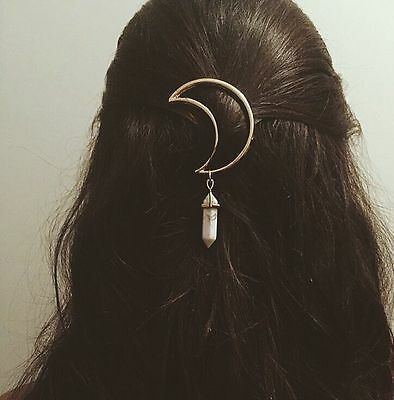 Vintage Women Alloy Moon Hair Clip Natural Stone Pendant Charms Clamp Hairpin