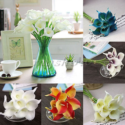 Artificial Latex Real Touch Calla Lily Fake Flower Wedding Home Decor Bouquet