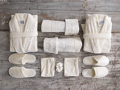 His and Hers Cream High Quality 11 Piece Bath Robe Towel Set Bundle with Extras