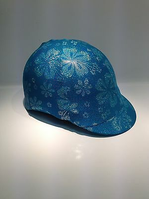 Horse Helmet Cover Blue Holographic With With Lycra AUSTRALIAN  MADE