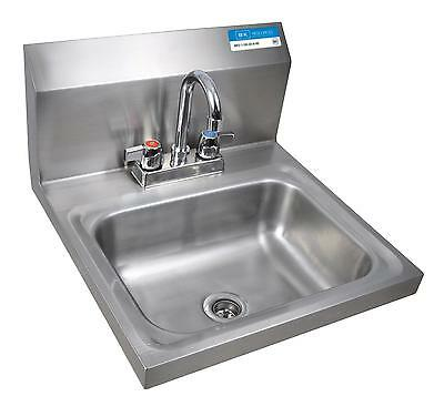 "BK Resources Wall Mount Hand Sink 14x10x5 - 4"" Deck Mount Faucet LOW LEAD"