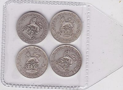 Four Silver Sixpences Dated 1913/1914/1918 & 1919 In Fine Or Better Condition