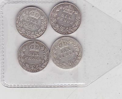 Four Silver Sixpences Dated 1902/1903/1904 & 1906 In Fine Or Better Condition