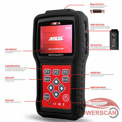 ABS Airbag SAS Reset Live Data Diagnostic Tool Code Reader Scanners Ancel AD610