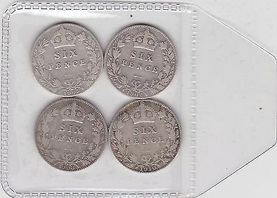 Four Silver Sixpences Dated 1902/1905/1908 & 1910 In Fine Or Better Condition