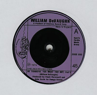 """WILLIAM DeVAUGHN Be Thankful For What You Got UK 7"""" EX Cond"""