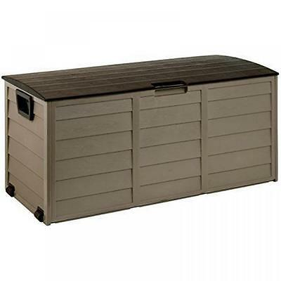 Large Plastic Mocha 227L Garden Storage Box Lid Patio Shed Utility Cushion Chest