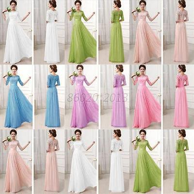 UK Lace/Long Formal Wedding Evening Ball Gown Party Prom Bridesmaid Dress S-XXL