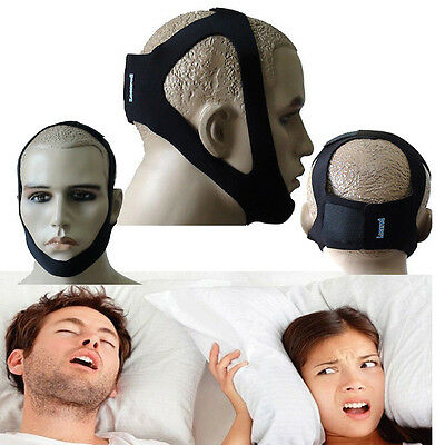 Anti Snore Sleep Apnea Aid Stop Snoring Strap Belt Jaw Solution Chin Support ZY