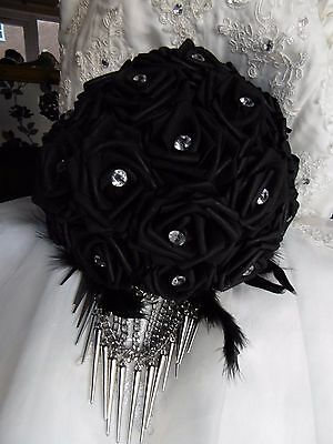 Beautiful Black Wedding Brides Bouquet Flowers Gothic Spikes Chains Feathers