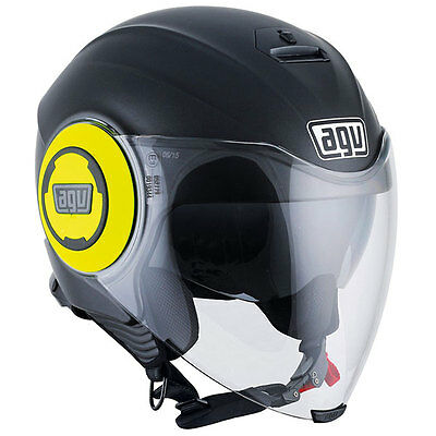 AGV Fluid Motorbike Motorcycle Open Face Helmet - Matt Black / Yellow