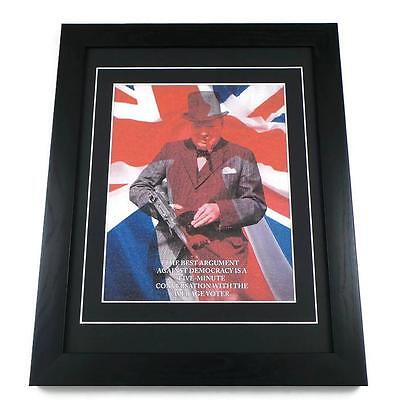 Winston Churchill Canvas Art Print Poster Framed Quotes British Union Jack Gifts