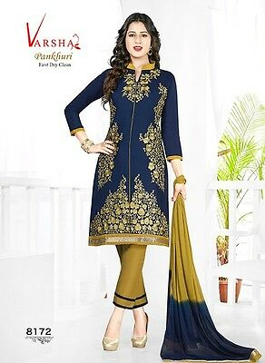 Salwar Kameez Indian Unstitched Dress Material Embroidery Ethnic Wear VR8172