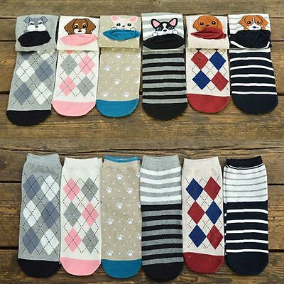 Warm Cute Fashion Animals Cartoon Short Socks Dog Puppy Print Cotton Ankle