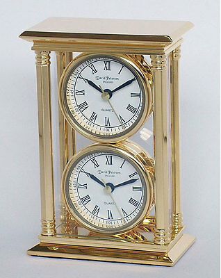 Mantel/Desk clock - 24k gold plated solid brass - 2 x faces/ movements SKC02 New