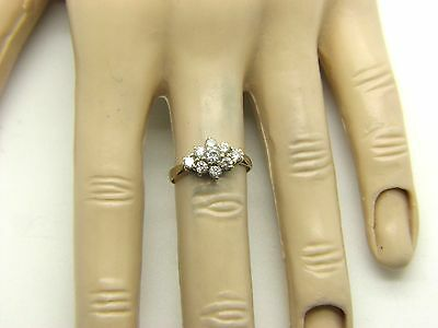 Ladies 9ct, 9carat Yellow Gold Clear Stone Cluster Style Ring Size K 1/2