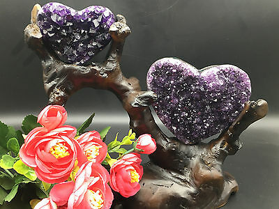 Amazing Amethyst Geode Heart With Gemmy Crystals From Urugua+Rosewood Stand