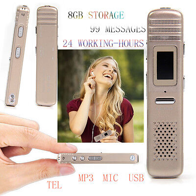 8GB Mini Portable Voice Sound Recorder Dictaphone MP3 Player Rechargeable USB