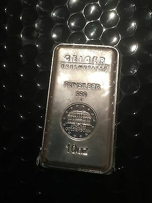 10oz Geigers Silver Bullion Bar 99.9% Pure Collectible