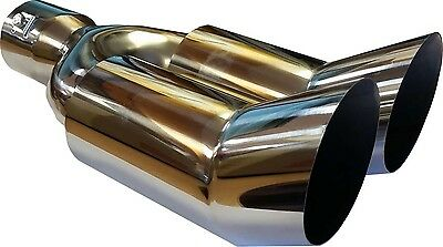 "Ford Focus 300mm 11.75"" TWIN EXIT EXHAUST TIP TAIL PIPE STAINLESS SCREW ON"