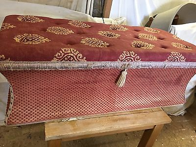 Vintage Ottoman Storage Box Re- Upholstered Buttoned Blanket Chest