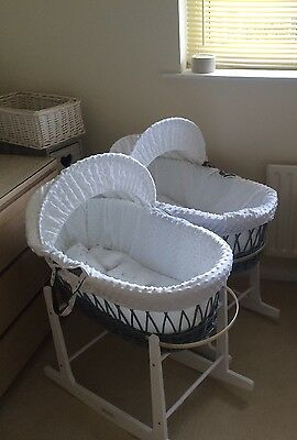 Grey wicker Moses basket with rocking stand *twins*