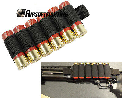 Tactical 6 Round Shotgun Shell Holder Card Strip with Adhesive Back for 12 Gauge